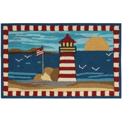 Amabilia Hand-Tufted Blue/Red Novelty Rug