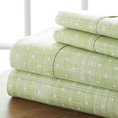 Niranjan Premium Printed Microfiber Sheet Set Size: King, Color: Moss