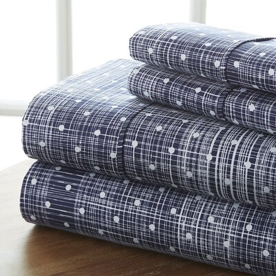 Niranjan Premium Printed Microfiber Sheet Set Size: Queen, Color: Navy