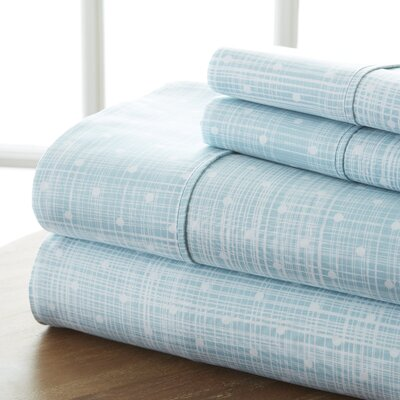 Niranjan Premium Printed Microfiber Sheet Set Size: California King, Color: Aqua