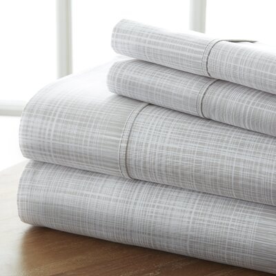 Niranjan Premium Printed Microfiber Sheet Set Size: Full, Color: Gray