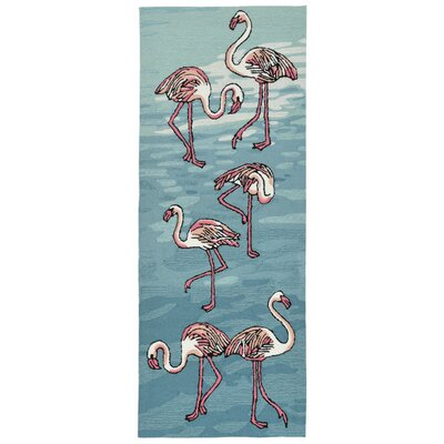 Boller Flamingo Handmade Blue Indoor/Outdoor Area Rug Rug Size: Runner 23 x 6