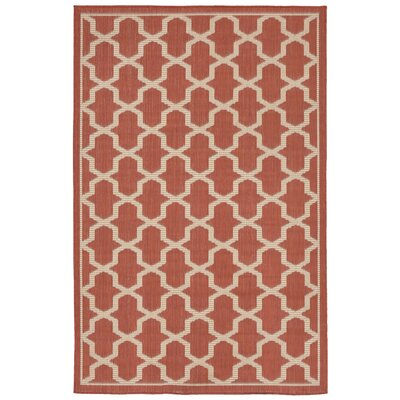 Aaliyah Geo Power Loom Rust Indoor/Outdoor Area Rug Rug Size: Rectangle 33 x 411