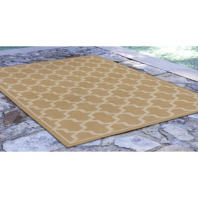 Aaliyah Geo Power Loom Beige Indoor/Outdoor Area Rug Rug Size: Rectangle 410 x 76