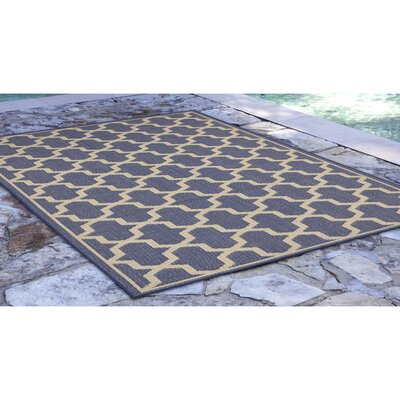 Aaliyah Casual Geo Power Loom  Blue Indoor/Outdoor Area Rug Rug Size: Runner 111 x 76