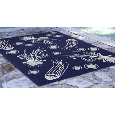 Bluegrass Jellies Hand-Tufted Navy Indoor/Outdoor Area Rug Rug Size: Rectangle 5 x 76