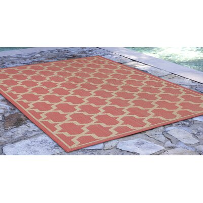 Aaliyah Geo Power Loom Orange Indoor/Outdoor Area Rug Rug Size: Runner 111 x 76