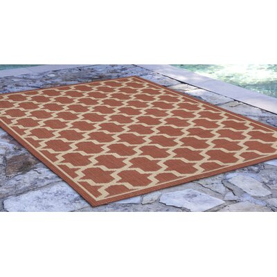 Aaliyah Geo Power Loom Rust Indoor/Outdoor Area Rug Rug Size: Runner 111 x 76
