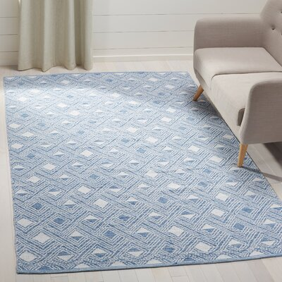 Dominica Hand-Woven Blue/Ivory Area Rug Rug Size: Rectangle 5 x 8