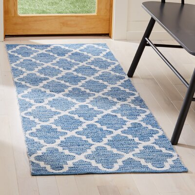 Eliana�Hand-Woven Blue/Ivory Area Rug Rug Size: Runner 23 x 7