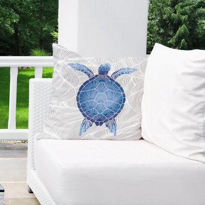 Palmdale Indoor/Outdoor Euro Pillow Color: Blue/ Grey