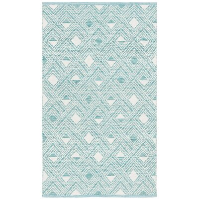 Dominica Hand-Woven Aqua/Ivory Area Rug Rug Size: Rectangle 3 x 5