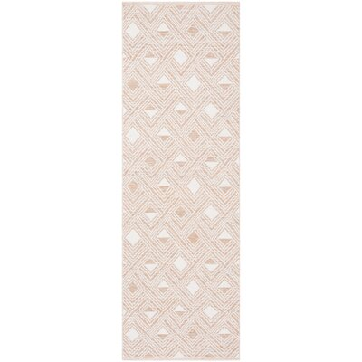 Dominica Hand-Woven Peach/Ivory Area Rug Rug Size: Runner 23 x 7