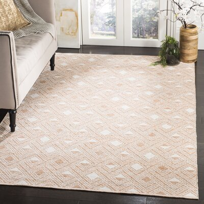 Dominica Hand-Woven Peach/Ivory Area Rug Rug Size: Rectangle 5 x 8