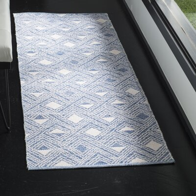 Dominica Hand-Woven Blue/Ivory Area Rug Rug Size: Runner 23 x 7