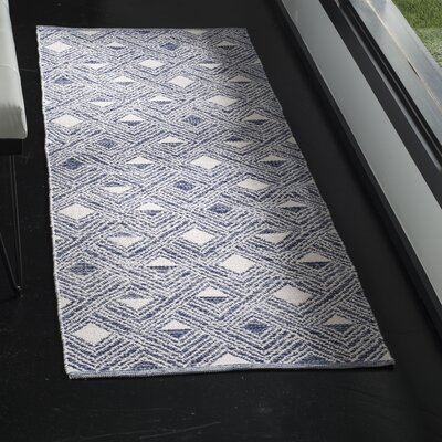 Dominica Hand-Woven Navy/Ivory Area Rug Rug Size: Runner 23 x 7