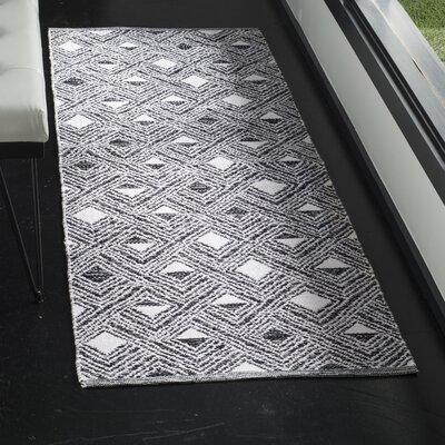Dominica Hand-Woven Black/Ivory Area Rug Rug Size: Runner 23 x 7