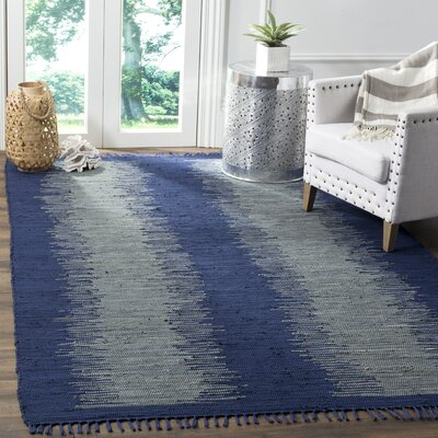 Cayman Hand-Woven Blue/Gray Cotton Area Rug Rug Size: Rectangle 6 x 9