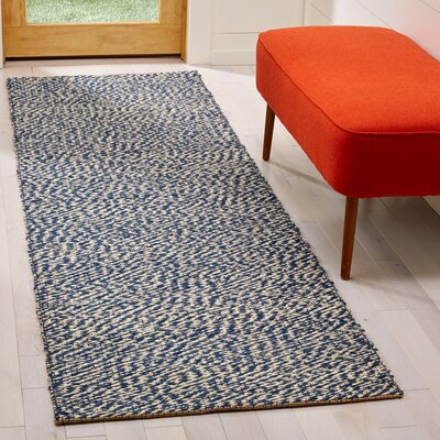 Abrielle Natural Fiber Hand-Woven Blue/Ivory Indoor Area Rug Rug Size: Runner 26 x 8