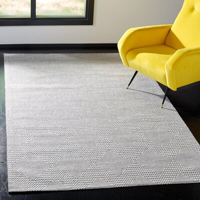 Burner Hand-Woven Dark Gray/Ivory Area Rug Rug Size: Rectangle 3 x 5