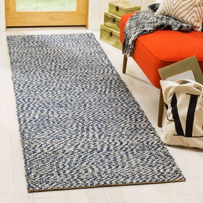 Abrielle Natural Fiber Hand-Woven Blue/Ivory Indoor Area Rug Rug Size: Runner 26 x 6