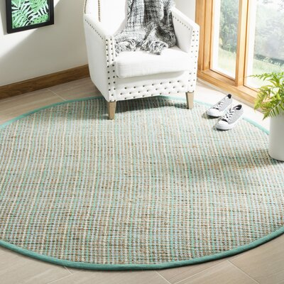 Abia Hand-Woven Green Area Rug Rug Size: Round 6