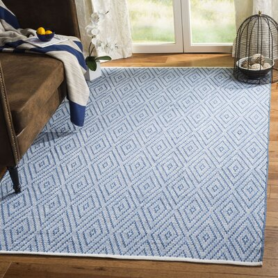Achilles Hand-Woven Cotton Blue/Ivory Area Rug Rug Size: Rectangle 5 x 8