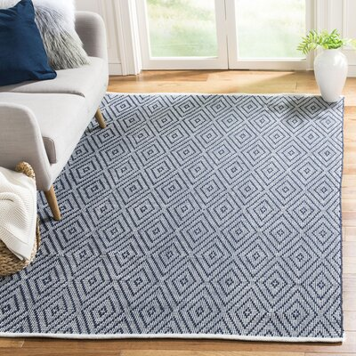 Adrien Place Hand-Woven Navy & Ivory Area Rug Rug Size: Rectangle 10 x 14