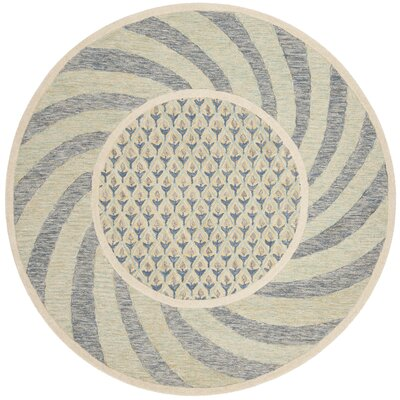 Harbuck Hand-Tufted Gray/Blue Area Rug Rug Size: Round 6