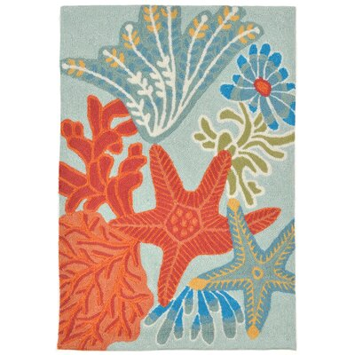 Clowers Ocean Scene Aqua Indoor/Outdoor Area Rug Rug Size: Rectangle 26 x 4