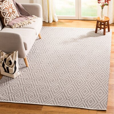 Alastair Hand-Woven Grey/Ivory Area Rug Rug Size: Rectangle 5 x 8