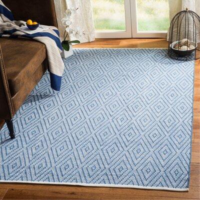 Achilles H-Woven Cotton Blue Area Rug Rug Size: Rectangle 5 x 8