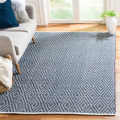 Adrien Place Hand-Woven Navy & Ivory Area Rug Rug Size: Rectangle 5 x 8