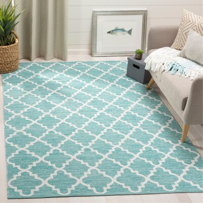 Eliana� Hand-Woven Mint/Ivory Area Rug Rug Size: Rectangle 5 x 8