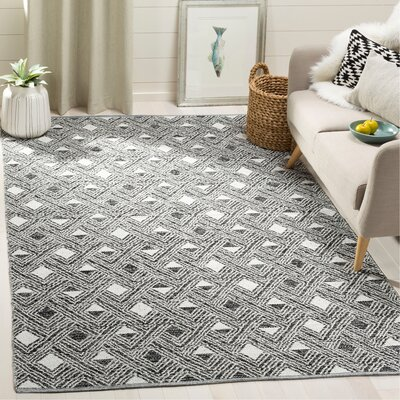 Dominica Hand-Woven Black/Ivory Area Rug Rug Size: Rectangle 5 x 8
