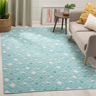 Dominica Hand-Woven Aqua/Ivory Area Rug Rug Size: Rectangle 5 x 8