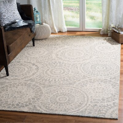 Hanner Abstract Hand-Tufted Wool Ivory/Gray Area Rug Rug Size: Rectangle 6 x 9