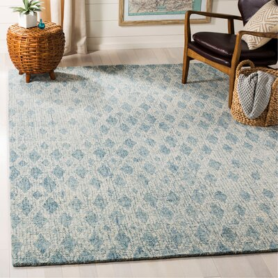 Kazer Abstract Hand-Tufted Wool Ivory/Blue Area Rug Rug Size: Rectangle 6 x 9