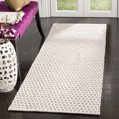Church Street Hand-Woven Cotton Ivory/Brown Area Rug Rug Size: Rectangle 23 x 7