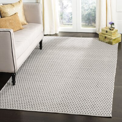 Church Street Hand-Woven Cotton Gray/Ivory Area Rug Rug Size: Rectangle 5 x 8