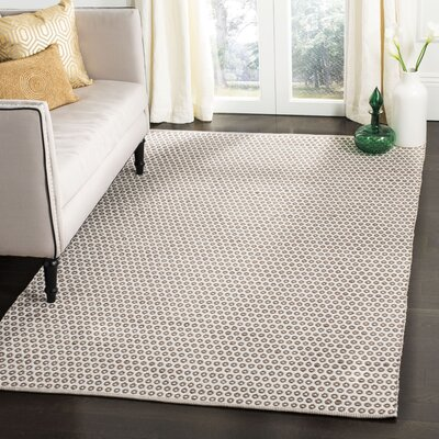 Elson Rectangle Ivory/Silver Area Rug Rug Size: Square 67