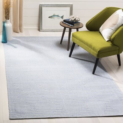 Burner Hand-Woven Dark Blue/Ivory Area Rug Rug Size: Rectangle 5 x 8
