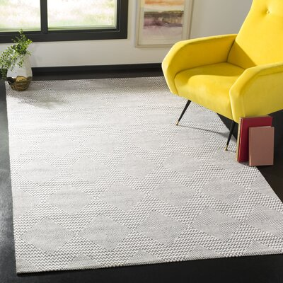 Burner Hand-Woven Dark Gray/Ivory Area Rug Rug Size: Rectangle 5 x 8