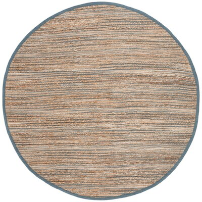 Abia Hand-Woven Beige Area Rug Rug Size: Round 6
