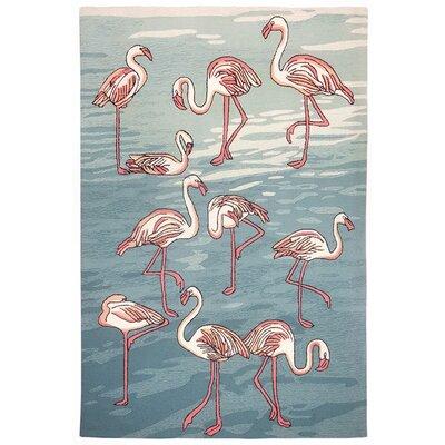 Boller Flamingo Handmade Blue Indoor/Outdoor Area Rug Rug Size: Rectangle 5 x 76