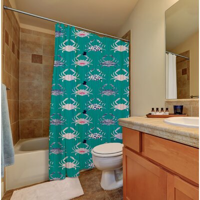 Hennessy Crabs Textured Fabric Printed Shower Curtain