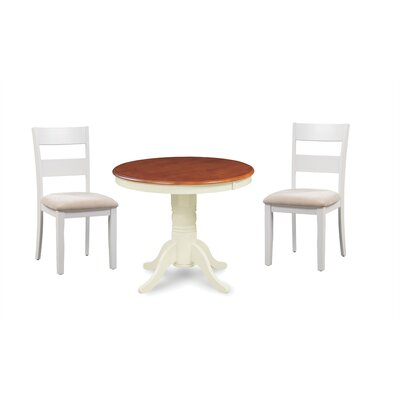 Cayton 3 Piece Breakfast Nook Dining Set Color: White