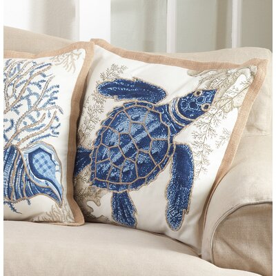 Aloisia Sea Turtle Down Filled Cotton Throw Pillow