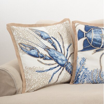 Aloisia Lobster Down Filled Cotton Throw Pillow