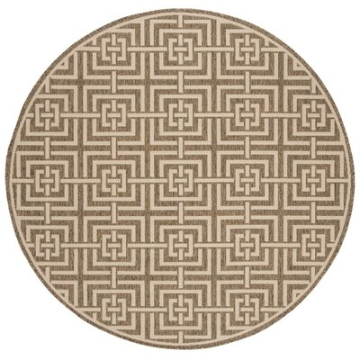 Adalbert Beige/Cream Area Rug Rug Size: Round 67